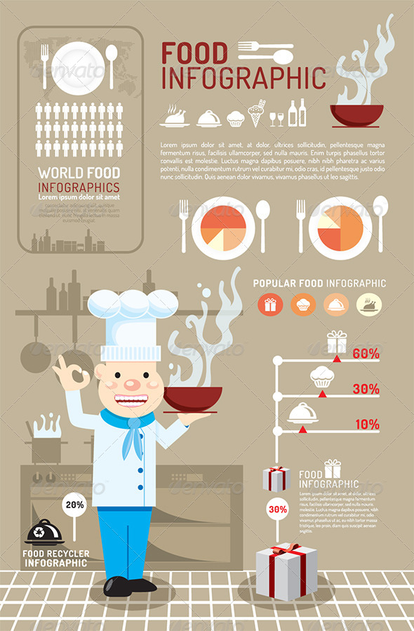 GraphicRiver Infographic Food Concept Vector Illustration 6790453