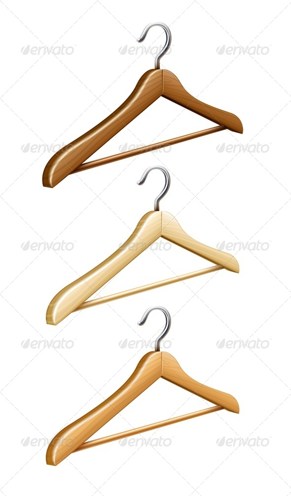 GraphicRiver Set of Wooden Coat Hangers for Wardrobe Clothes 6790454