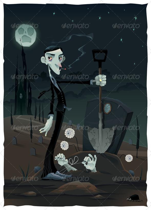 GraphicRiver Scene in the Cemetery 6790632