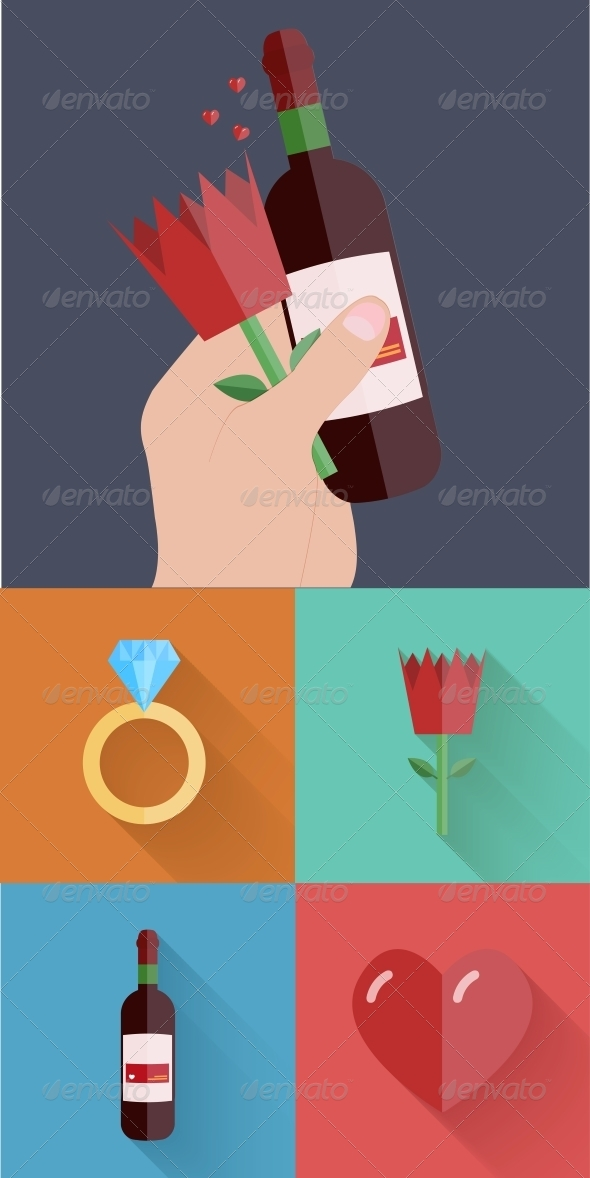 GraphicRiver Flat Modern Love Backgrounds 6790658