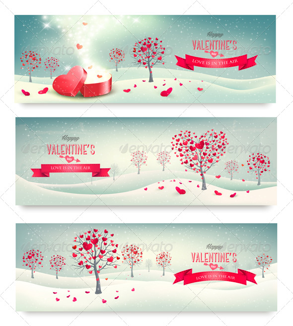 GraphicRiver Valentine Trees with Heart-Shaped Leaves 6790707