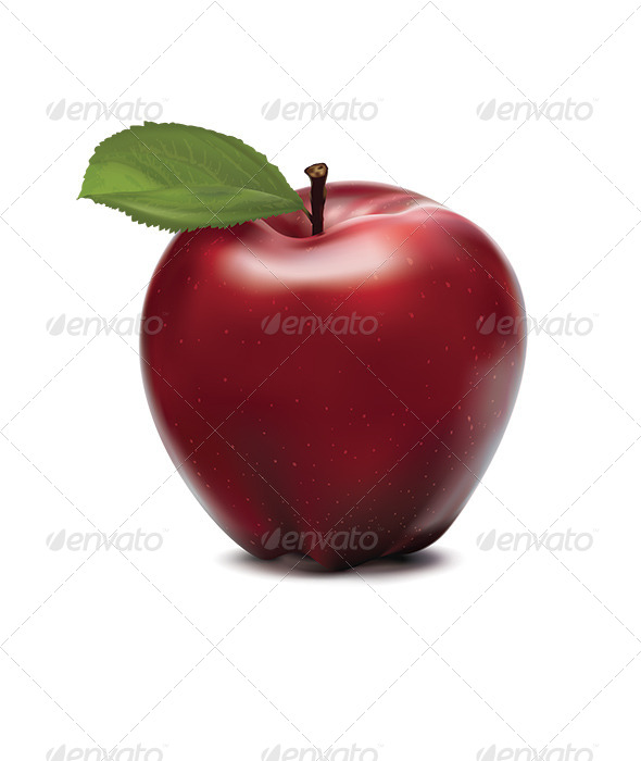 GraphicRiver Apple Red with Green Leaf 6790844