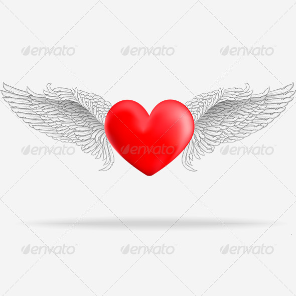 GraphicRiver Realistic Heart with White Wings 6790945