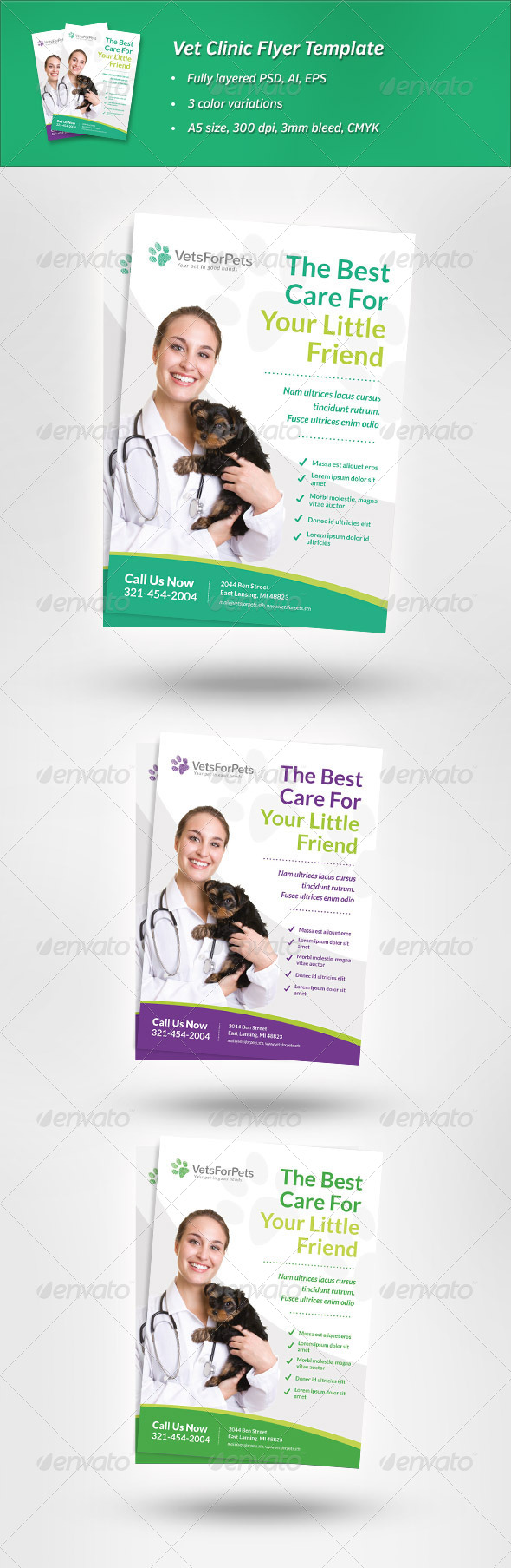GraphicRiver Vet Clinic Flyer Template 6790951