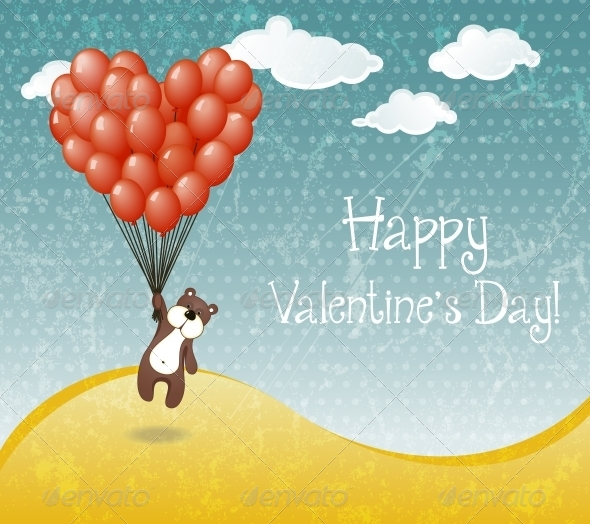 GraphicRiver Valentines day card with flying teddy bear 6791000