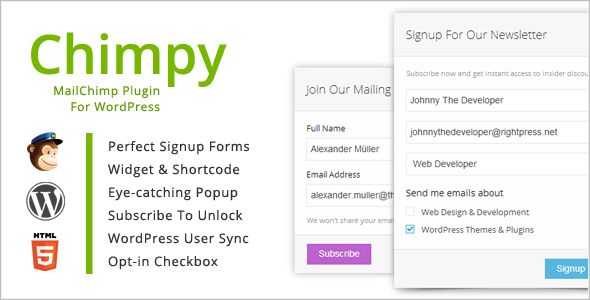 Chimpy is the most complete MailChimp WordPress Plugin. Enjoy features like content locking and user synchronization or simply display a signup form. The Last