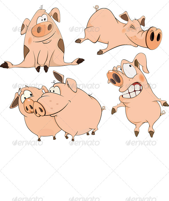 GraphicRiver Set of Cheerful Pigs Cartoon 6791639