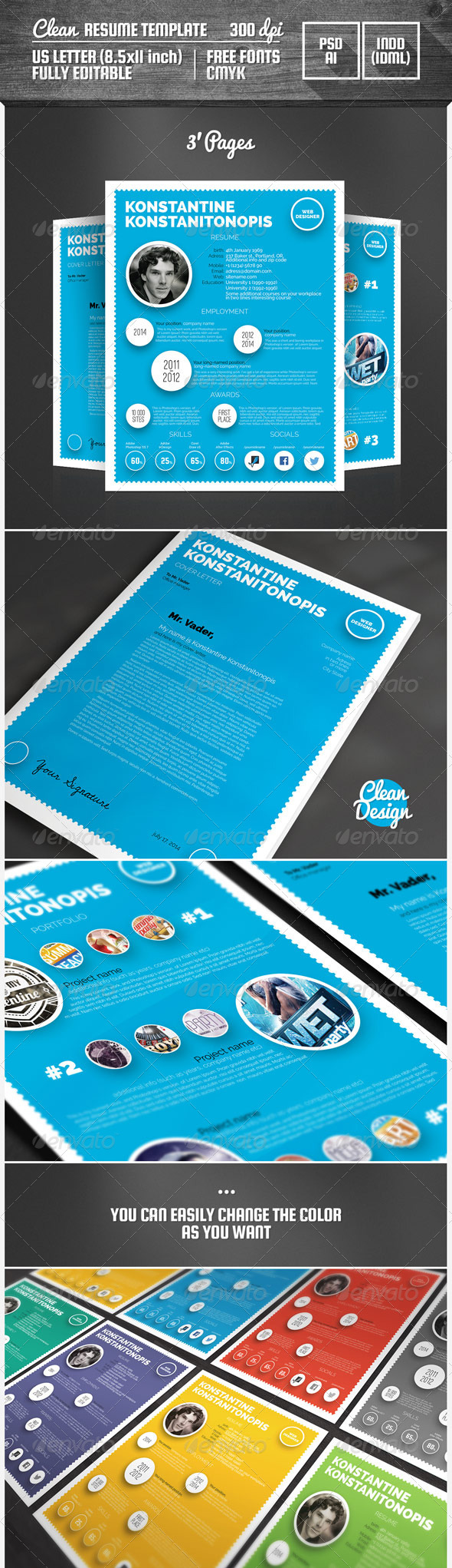 GraphicRiver Clean Resume Template 6791912