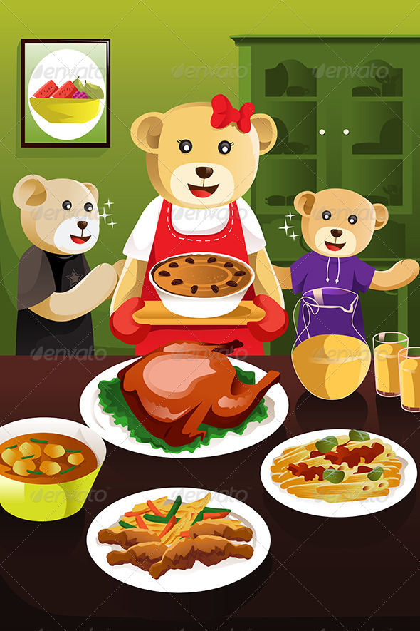 GraphicRiver Bear Family Having Dinner 6792003