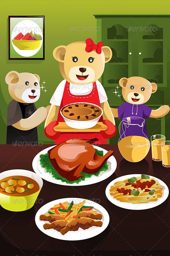 Bear Family Having Dinner
