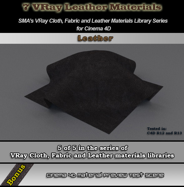 3DOcean 7 Vray Leather Material Pack for Cinema 4D 6792399