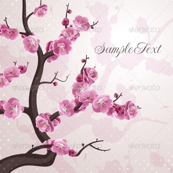 GraphicRiver Cherry Flowers Card with Spring Blossom 6792481