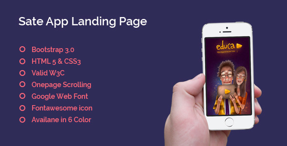 ThemeForest Sate App Landing Page One Page 6660399