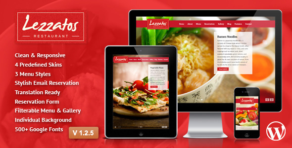 Lezzatos: Restaurant Responsive Wordpress Theme - Restaurants & Cafes Entertainment