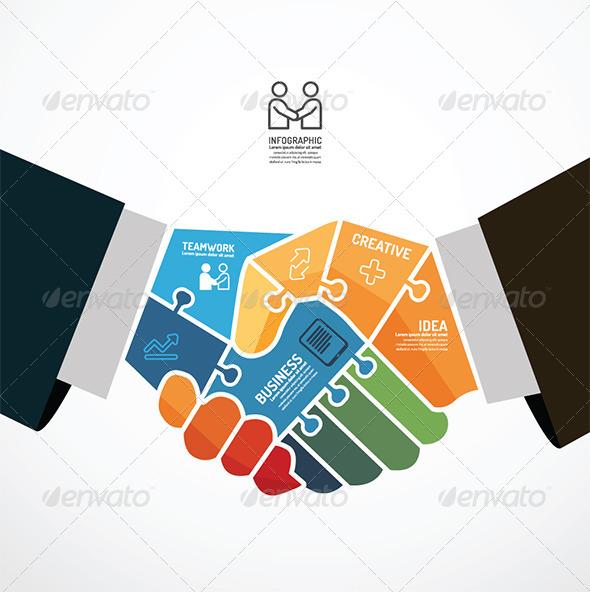 GraphicRiver Businessman Handshake Jigsaw Template 6793274