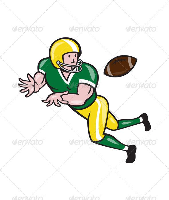 GraphicRiver American Football Wide Receiver Catch Ball Cartoon 6793285