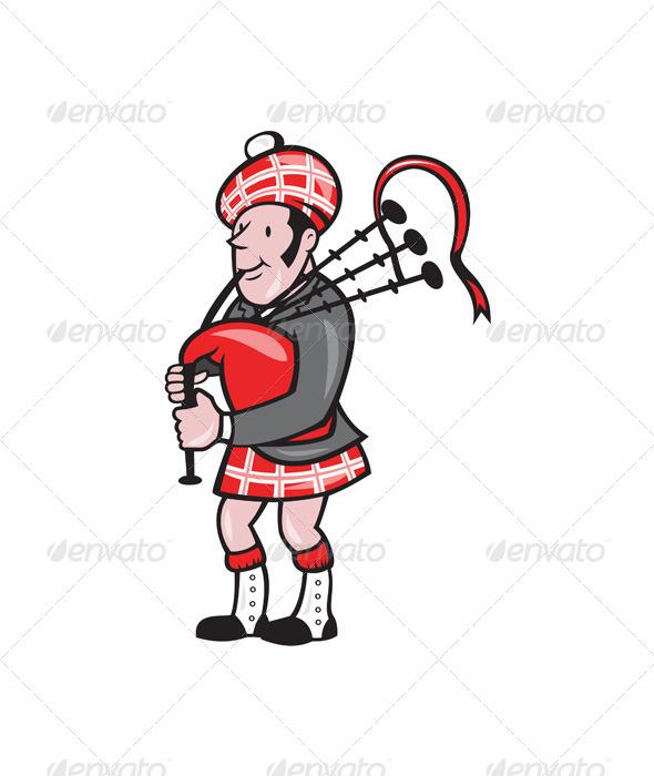 GraphicRiver Scotsman Bagpiper Bagpipes Cartoon 6793351