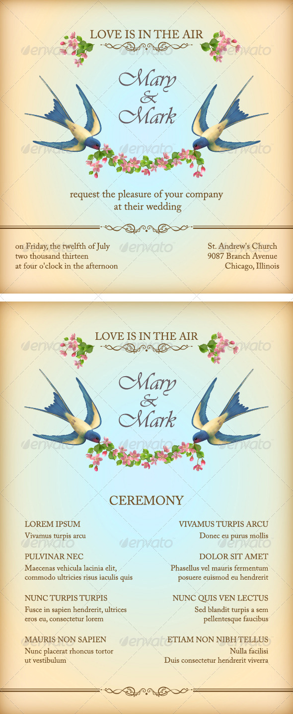 GraphicRiver Floral Wedding Invitation Card with Flowers Birds 6793409