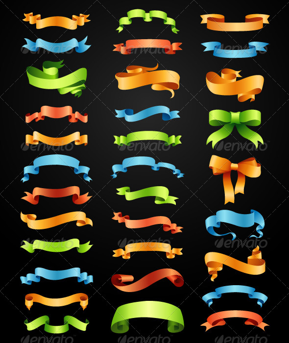 GraphicRiver Set of Full Colors Ribbons Vector 6793612
