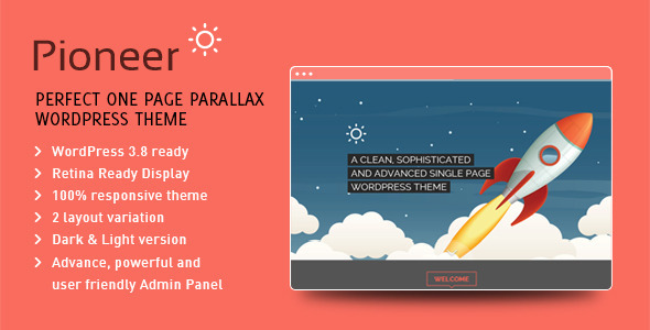 ThemeForest Pioneer Onepage Parallax WordPress Theme 6548135