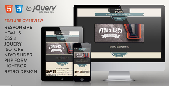 Barcelona - Responsive One Page Retro Template