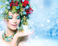 Christmas Winter Woman with Miracle in Her Hand - PhotoDune Item for Sale