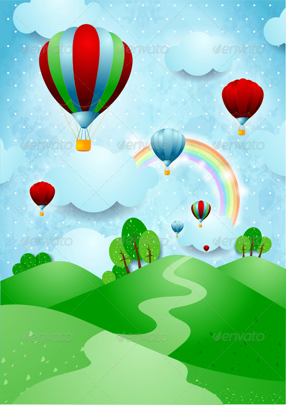 GraphicRiver Hot Air balloons over the Hills 6794938