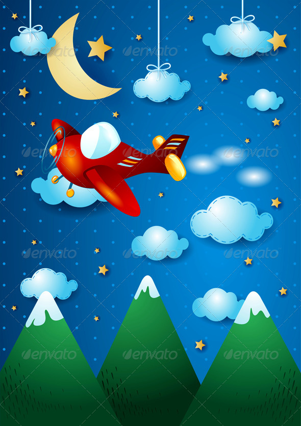 GraphicRiver Airplane Over the Mountain 6795072