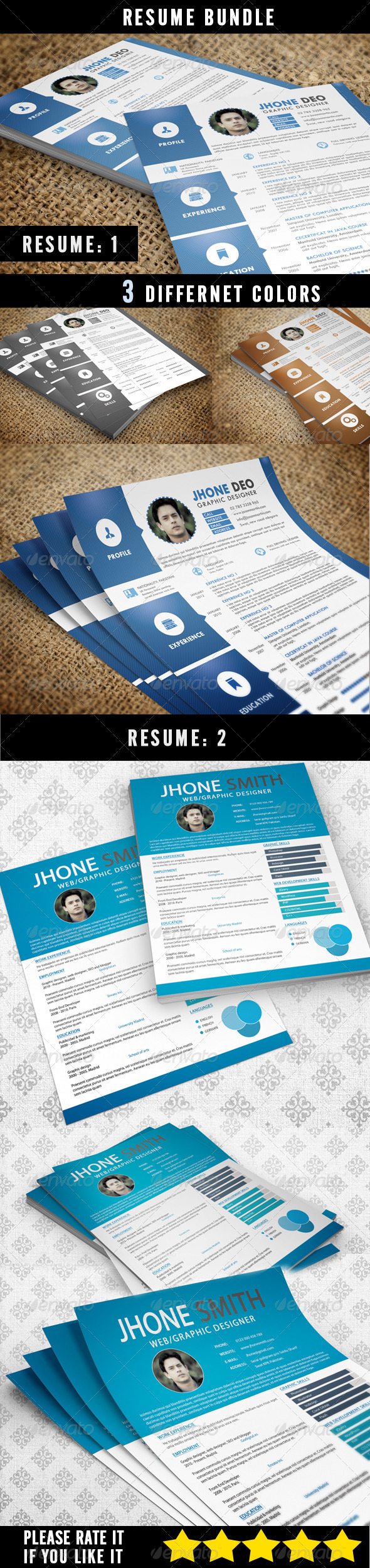 GraphicRiver Resume Bundle 2 in 1 6796110