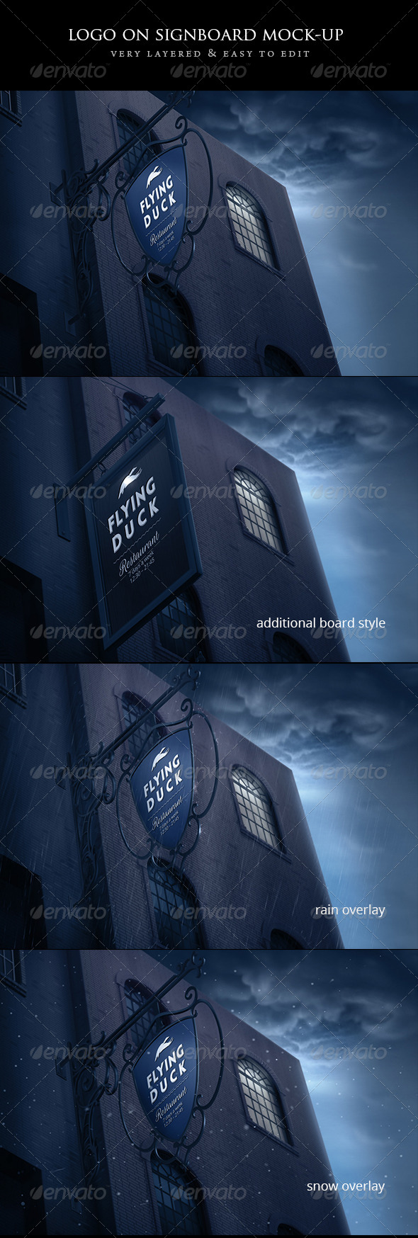 GraphicRiver Logo on Vintage Signboard Mock-up 6795246