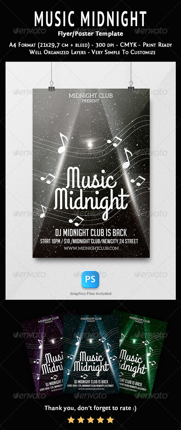 GraphicRiver Music Midnight Flyer Template 6792634