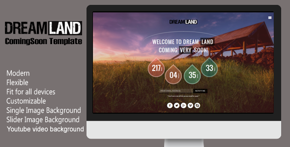 ThemeForest Dreamland Responsive Coming Soon Page 6769978