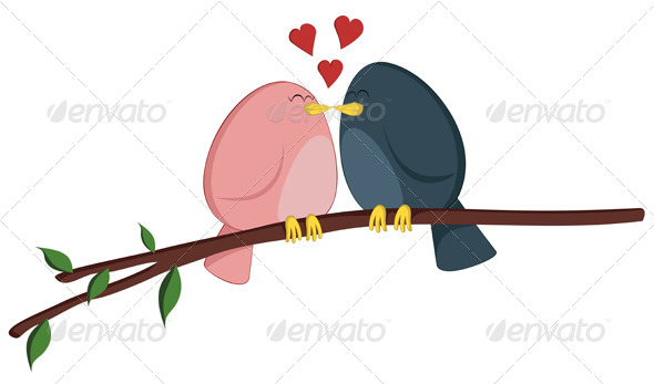 GraphicRiver Kissing Birdies on a Branch 6796657