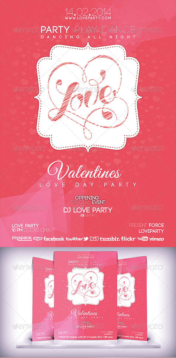 GraphicRiver Love Day Party Fyer 6796779