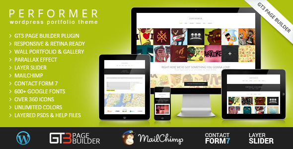 Performer Minimalistic Portfolio WordPress Theme