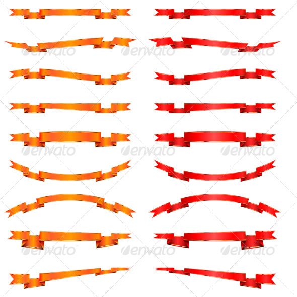 GraphicRiver Collection of Orange and Red Ribbons 6796841