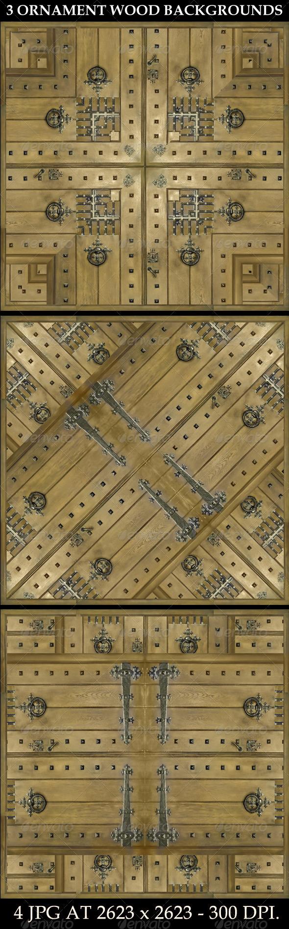 3 Ornament Wood Backgrounds