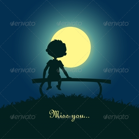 GraphicRiver Boy Sitting Lonely in the Moonlight 6797368