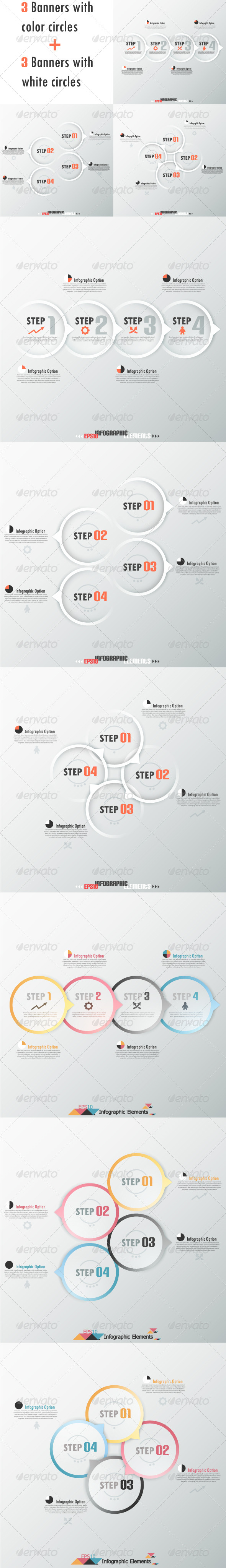 GraphicRiver Set Of Six Modern Infographic Banners With Circles 6797892