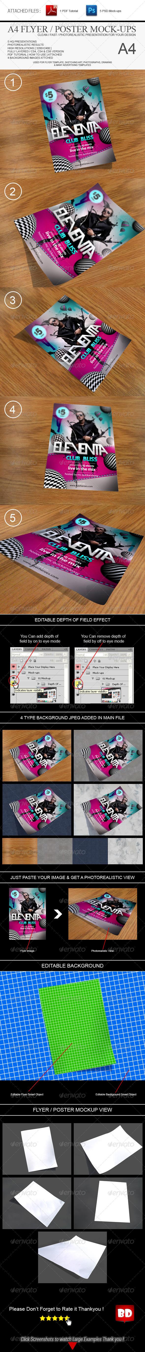 GraphicRiver A4 Flyer Mock-ups Pack 6772175