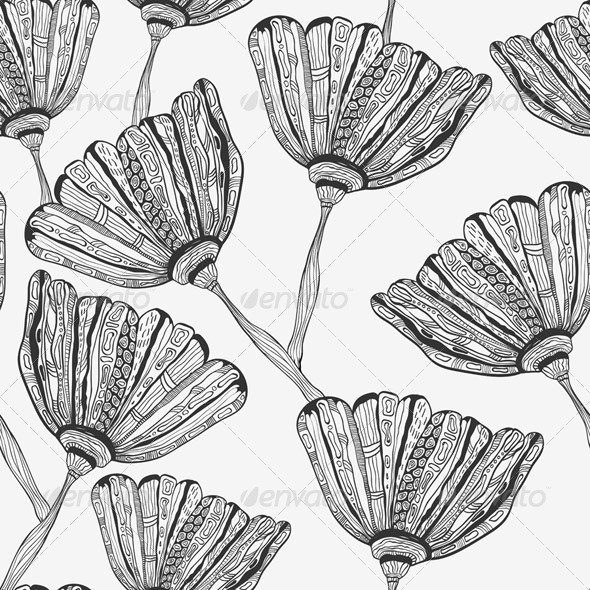 GraphicRiver Seamless Pattern with Bizarre Flowers 6798337