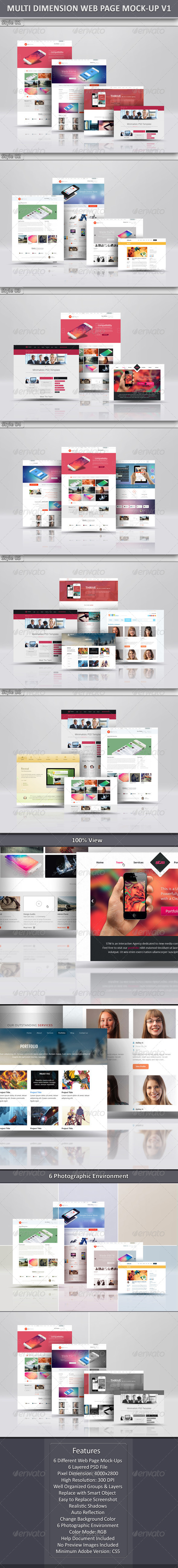 Multi Dimension Web Page Mock-Up
