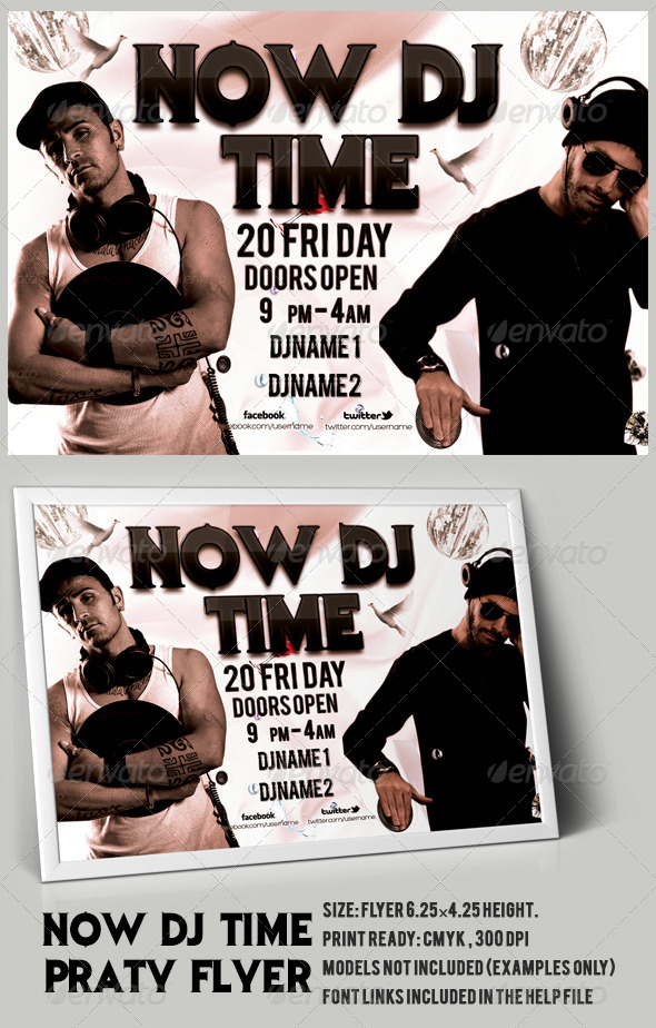 GraphicRiver Now DJ Time Party Flyer PSD Template 6798443