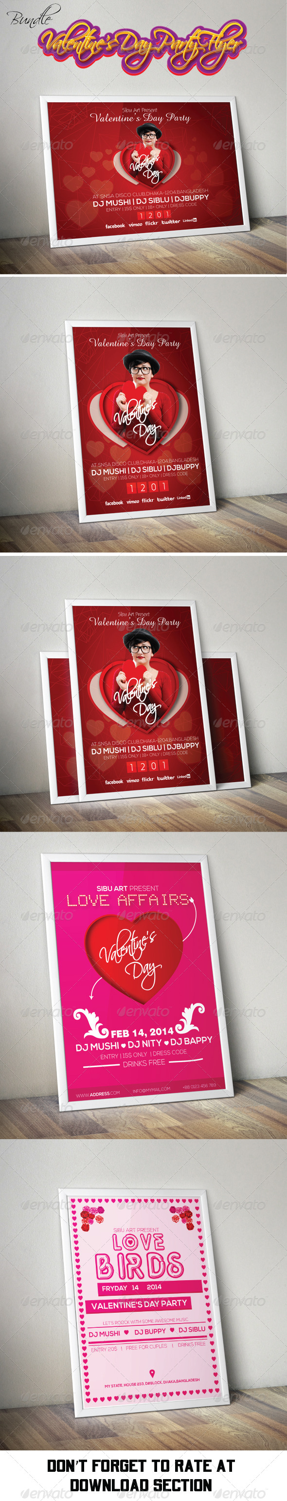 GraphicRiver Valentine s Day Party Flyer Bundle Pack 6798502