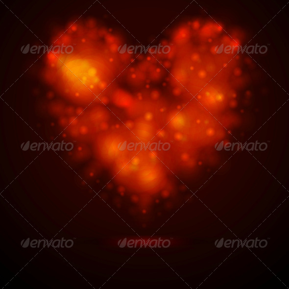Shiny Lights Abstract Heart - Valentines Seasons/Holidays