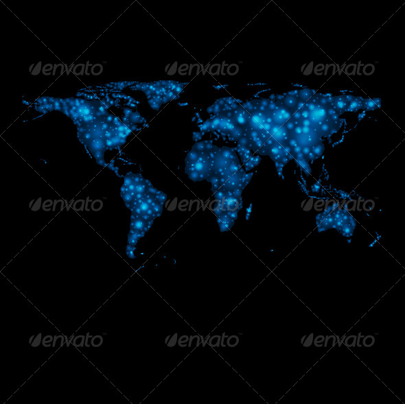 GraphicRiver Abstract Shiny Lights World Map 6798618