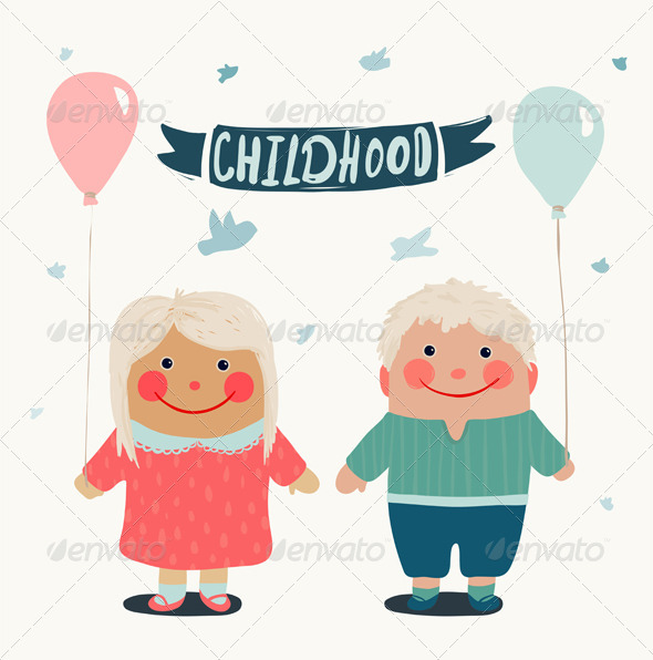 GraphicRiver Summer Children Friends with Balloons 6799190