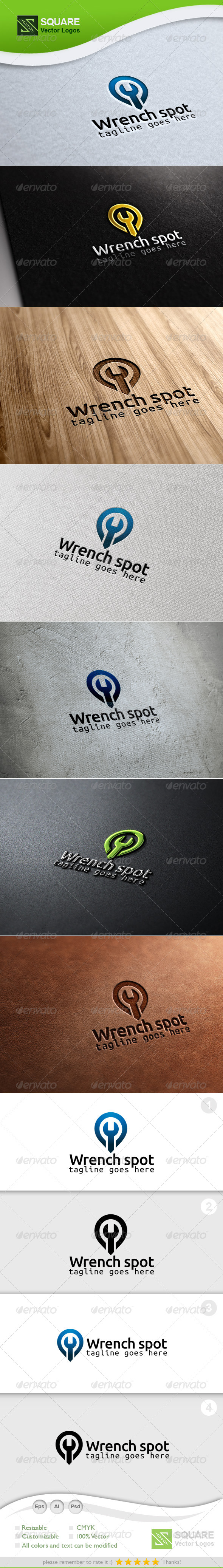 Wrench, Locator Vector Logo Template - Symbols Logo Templates