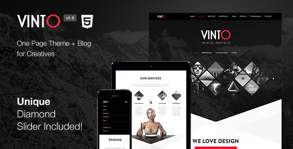 Vinto - One Page Parallax Responsive Template
