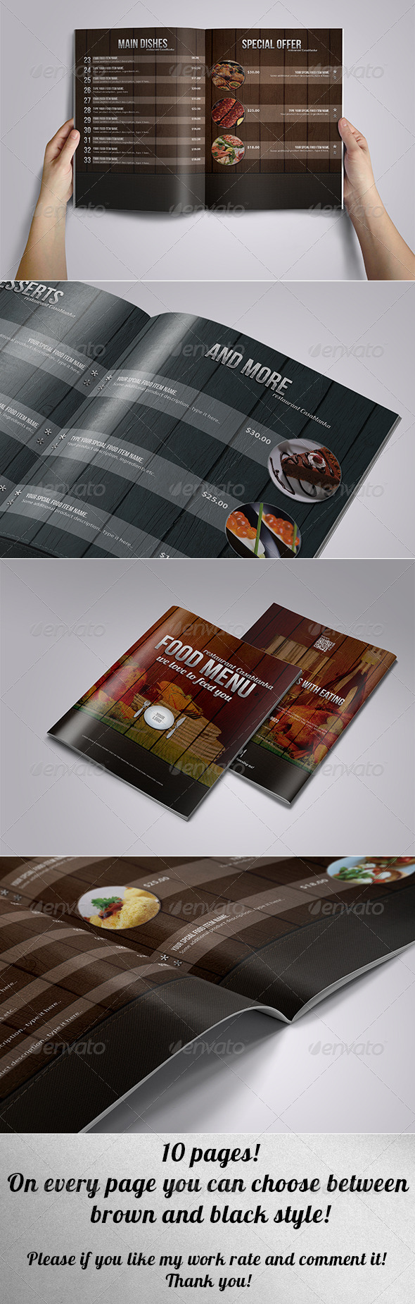 GraphicRiver Elegant food menu leather and wood 6799986